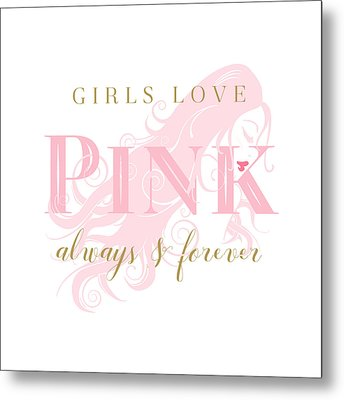 Metal Print featuring the digital art Girls Love Pink Woman Silhouette by Tracie Kaska