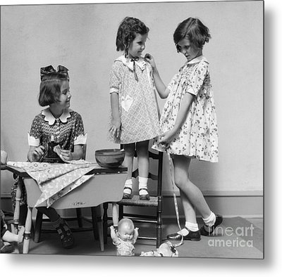 Girls Playing Fashion Designers, C.1930s Metal Print by H. Armstrong Roberts/ClassicStock