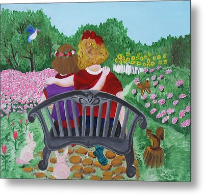 Girls Sitting Metal Print