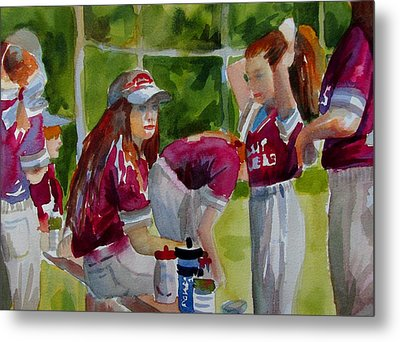 Girls Softball  Metal Print by Linda Emerson