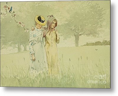 Girls Strolling In An Orchard Metal Print