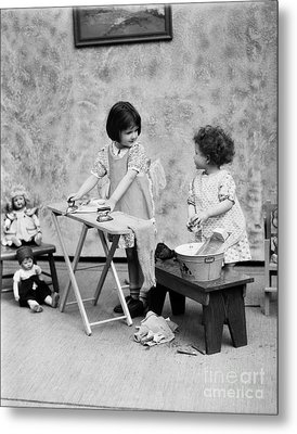 Girls Washing Doll Clothes, C.1920s Metal Print by H. Armstrong Roberts/ClassicStock