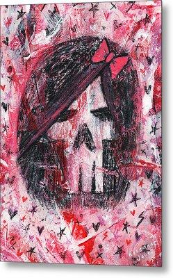 Girly Scene Skull Metal Print by Roseanne Jones
