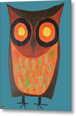 Give A Hoot Orange Owl Metal Print