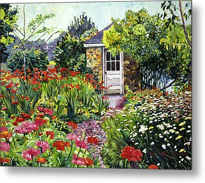 Giverny Gardeners House Metal Print by David Lloyd Glover
