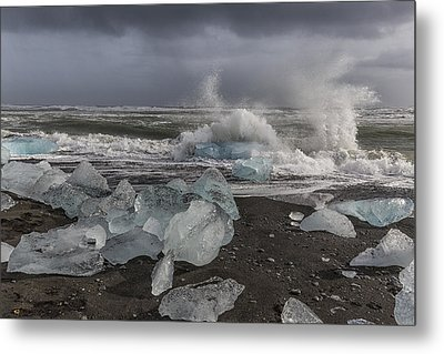 Metal Print featuring the tapestry - textile Glacial Lagoon Iceland 2 by Kathy Adams Clark