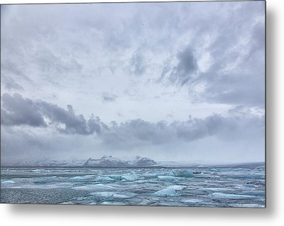 Metal Print featuring the tapestry - textile Glacial Lagoon Iceland by Kathy Adams Clark