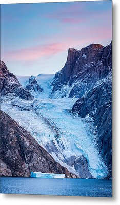 Glacial Sunset - Greenland Glacier Photograph Metal Print