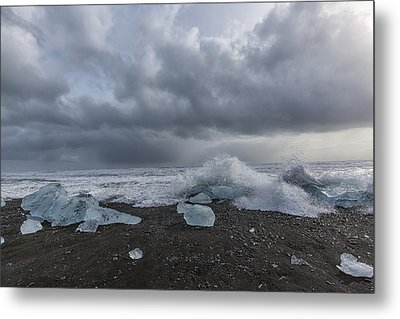 Metal Print featuring the tapestry - textile Glacier Ice 2 by Kathy Adams Clark