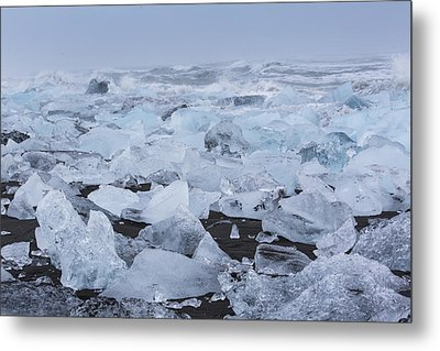 Metal Print featuring the tapestry - textile Glacier Ice by Kathy Adams Clark