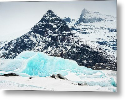 Metal Print featuring the photograph Glacier Landscape Iceland Blue Black White by Matthias Hauser