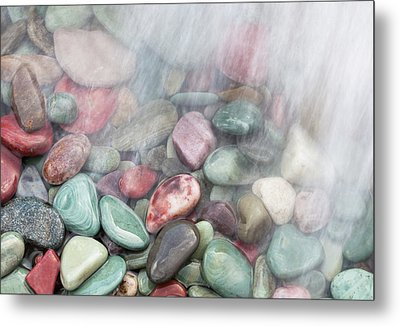 Glacier National Park Saint Mary's Lake Colored Stones Metal Print by Mark VanDyke