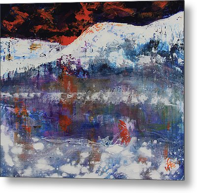 Metal Print featuring the painting Glacier Reflections by Walter Fahmy
