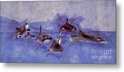 Glacier Whales Metal Print by Methune Hively