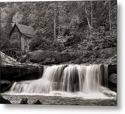 Glade Creek Grist Mill Monochrome Metal Print