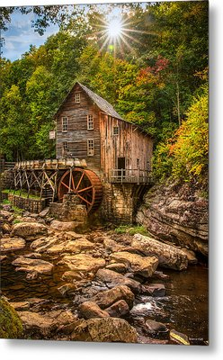 Glade Creek Mill Fall Metal Print by Rebecca Hiatt