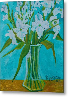 Gladiolas On Blue Metal Print by Pilar Rey de Castro
