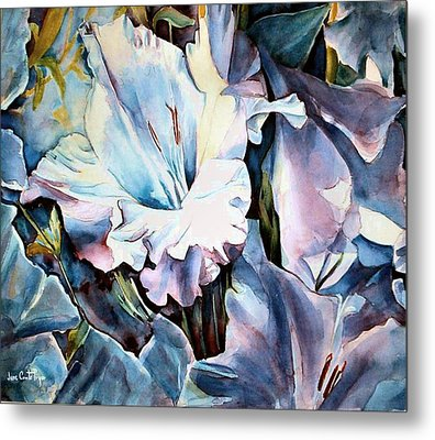 Glads White  Metal Print by June Conte  Pryor