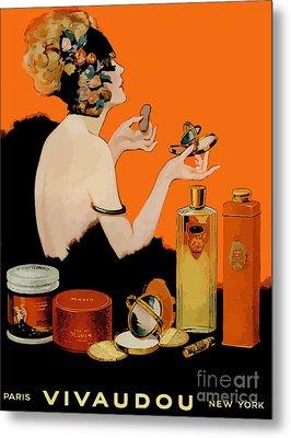 Glamour Vintage Art Deco Cosmetics Metal Print
