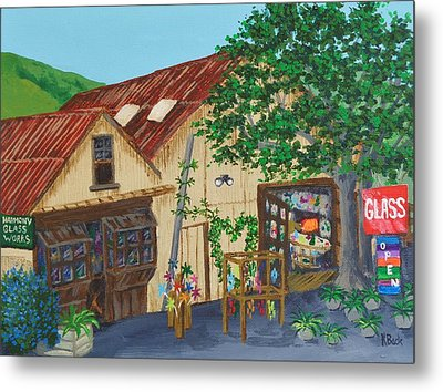 Metal Print featuring the painting Glass Blower Shop Harmony California by Katherine Young-Beck