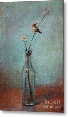 Glass Bottle And Hummingbird Metal Print by Lori  McNee
