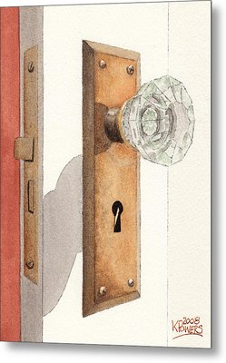 Glass Door Knob And Passage Lock Revisited Metal Print by Ken Powers