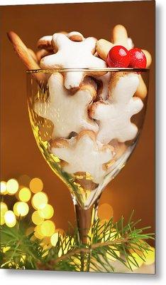 Glass Of Christmas Cookies  Metal Print