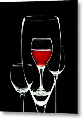 Glass Of Wine In Glass Metal Print by Tom Mc Nemar