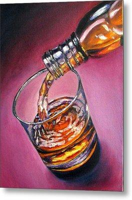 Glass Of Wine Original Oil Painting Metal Print by Natalja Picugina