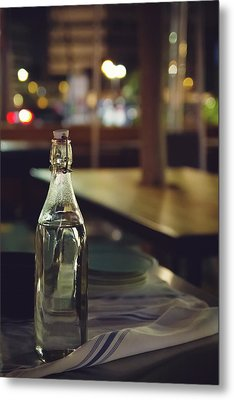 Metal Print featuring the photograph Glass Water Bottle by April Reppucci