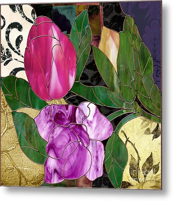 Glassberry Stained Glass Rose Metal Print by Mindy Sommers