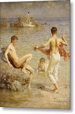 Gleaming Waters Metal Print by Henry Scott Tuke