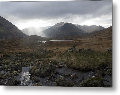 Glen Affric Storm Metal Print by Sue Arber