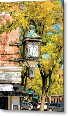 Metal Print featuring the painting Glen Ellyn Corner Clock by Christopher Arndt