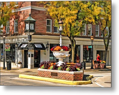 Metal Print featuring the painting Glen Ellyn Watering Fountain by Christopher Arndt