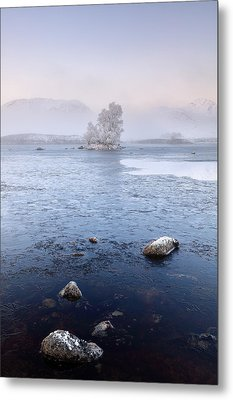 Glencoe Misty Winter Sunrise Metal Print by Grant Glendinning