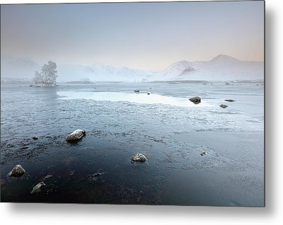 Glencoe Frozen Misty Winter Sunrise Metal Print by Grant Glendinning