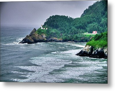 Gloomy Heceta Lighthouse  Metal Print by Connie Cooper-Edwards