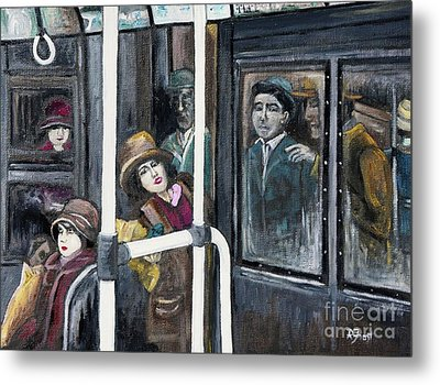 Gloria Swanson In Subway Scene From Manhandled Metal Print by Reb Frost