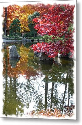 Glorious Fall Colors Reflection With Border Metal Print by Carol Groenen