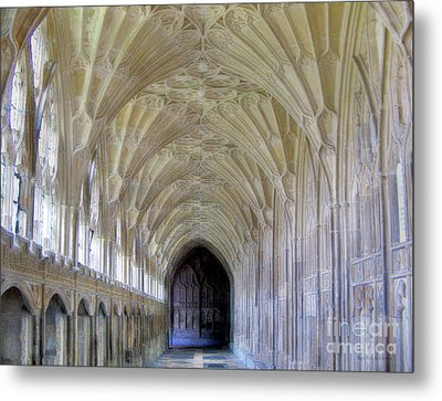 Gloucester Cathedral Cloisters Metal Print by Nigel Fletcher-Jones