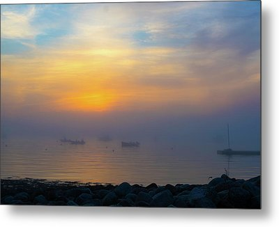 Gloucester Harbor Foggy Sunset Metal Print