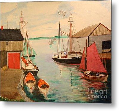 Gloucester Harbor - Mackerel Seiners 1933 Metal Print