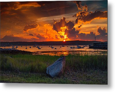 Gloucester Harbor Sunset Metal Print