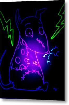 Glow Frankenweenie Sparky Metal Print by Marisela Mungia