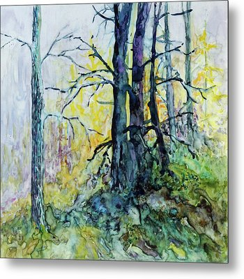 Metal Print featuring the painting Glow From The Tamarack by Joanne Smoley