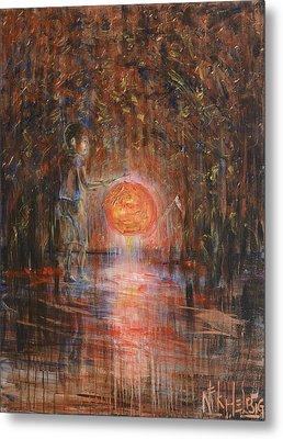Metal Print featuring the painting Glow In The Dark by Nik Helbig