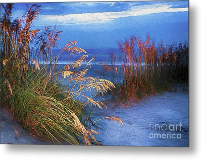 Metal Print featuring the digital art Glowing Dunes Before Sunrise On The Outer Banks Ap by Dan Carmichael