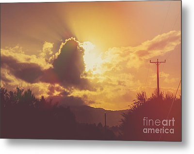 Glowing Orange Hilltop View Of An Afternoon Sunset Metal Print by Jorgo Photography - Wall Art Gallery