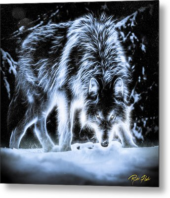 Metal Print featuring the photograph Glowing Wolf In The Gloom by Rikk Flohr